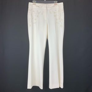 The Limited Ivory Pants with embroidery. Size 12.